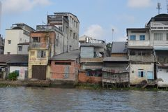 Vietnam - Mekong Delta- Can Tho. Vietnam - Mekong Delta- cruise along the Mekong river -  more substantial housing at Can Tho along the water front Stock Photo