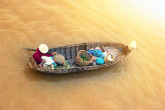 Vietnam, Mekong river delta. Boat on traditional market Stock Photo