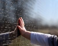 Vietnam Memorial. Baby's hand reflecting on the Vietnam Memorial Wall Stock Photography