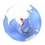 Vietnam on metallic globe isolated Stock Images