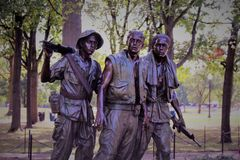 Vietnam minnesmärke i Washington DC arkivbild