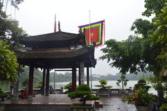 Temple on a lake. Amazing temple in Hanoi, Vietnam and a lake in the background royalty free stock photography