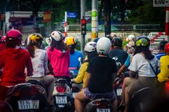 Vietnam Motorcycle Traffic buildup in urban setting royalty free stock images