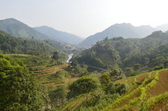 A rural mountain region in Vietnam. Mountains in Huang Su Phi, Vietnam royalty free stock photo