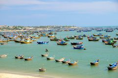 Vietnam: Mui Ne Fishing Village. Fishing boats in Mui Ne harbor Royalty Free Stock Images