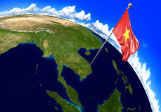 Vietnam national flag marking the country location on world map. 3D rendering Royalty Free Stock Photos
