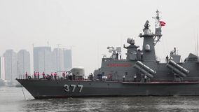 Vietnam Navy. Military ship entering Saigon river on the way to the port in Ho Chi Minh city
