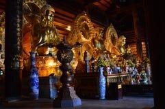 Vietnam - North - Bai Dinh Pagoda 3 golden buddhas. 3 golden buddhas at Bái Đính Temple Vietnamese: Chùa Bái Đính or Bái Đính Temple Spiritual and Royalty Free Stock Photo