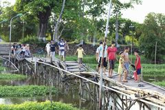 Vietnam Old Bridge with Kids Stock Image