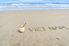 Vietnam op het zand wordt geschreven dat Stock Fotografie