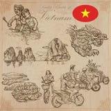 vietnam Photos de la vie Paquet de vecteur Dessins de main illustration stock