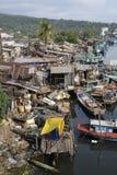 Vietnam Phu Quoc Fishermens slums. Vietnam Phu Quoc fishermen live in poor conditions on the river in Meking Delta stock images