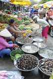 Vietnam Phu Quoc street market selling shell fish Stock Photography