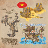 Vietnam. Pictures of Life. Colored vector pack. Hand drawings. Royalty Free Stock Image