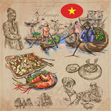 Vietnam. Pictures of Life. Colored vector pack. Hand drawings. Royalty Free Stock Photography