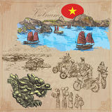 Vietnam. Pictures of Life. Colored vector pack. Hand drawings. Royalty Free Stock Photos