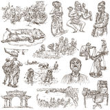 Vietnam. Pictures of Life. Freehands, hand drawn collection. Royalty Free Stock Photography