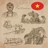 Vietnam. Pictures of Life. Vector pack. Hand drawings. Stock Images