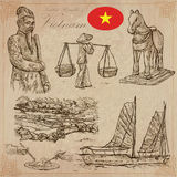 Vietnam. Pictures of Life. Vector pack. Hand drawings. Royalty Free Stock Photo
