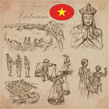 Vietnam. Pictures of Life. Vector pack. Hand drawings. Stock Photo