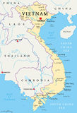 Vietnam Political Map. With capital Hanoi, national borders, important cities, rivers and lakes. English labeling and scaling. Illustration Stock Photo