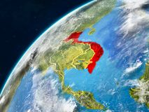 Vietnam on Earth with borders. Vietnam on realistic model of planet Earth with country borders and very detailed planet surface and clouds. 3D illustration royalty free stock image