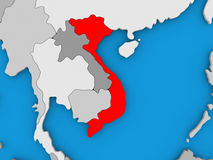Vietnam in red on globe. Map of Vietnam on globe highlighted in red. 3D illustration Royalty Free Stock Image