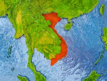 Map of Vietnam. Vietnam in red on realistic map with embossed countries. 3D illustration. Elements of this image furnished by NASA stock illustration
