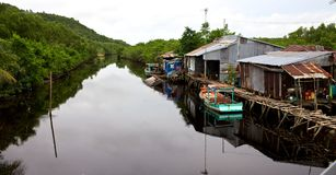 Vietnam riverside village Royalty Free Stock Images