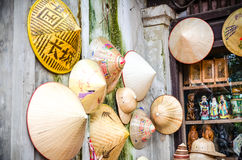 Vietnam`s traditional souvenirs are sold in shop at Hanoi`s Old Quarter Pho Co Hanoi, Vietnam stock photography