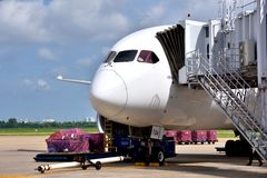 VietNam Saigon Airport operation. A Malindo Airlines plane is loading cargoes in VietNam airport, shown as industrial of transportation and cargo Royalty Free Stock Photo