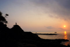 Vietnam seaside, sunrise, Da Dia rapids Royalty Free Stock Images