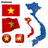 Vietnam set. Detailed country shape with region borders, flags and icons isolated on white background Royalty Free Stock Photography