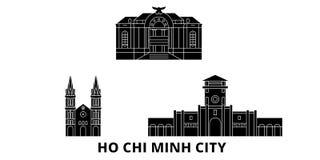 Vietnam, sistema plano del horizonte del viaje de Ho Chi Minh City Vietnam, ejemplo del vector de la ciudad del negro de Ho Chi M libre illustration