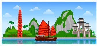 Vietnam skyline with colorful buildings and blue sky. royalty free illustration