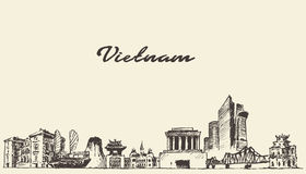 Vietnam skyline vector illustration drawn sketch. Vietnam skyline vintage vector engraved illustration hand drawn sketch Stock Photography