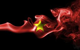 Vietnam smoke flag. Isolated on a black background stock photography