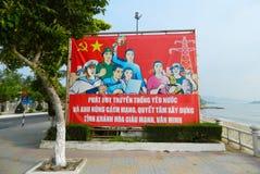 Vietnam socialist propaganda billboard on the street. Communism in Asia Stock Photo