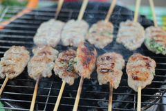Vietnam sticks food BBQ meat and rice background royalty free stock photo