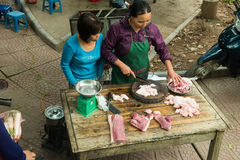 Vietnam Street Market Butcher, Travel Stock Photos