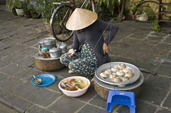 Vietnam street market lady seller. stock photography