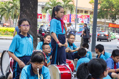 Vietnam students. School band during rehearsal  break for the parade in the in Ho Chi Minh city Stock Photography