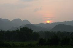Vietnam sunset over mountains Stock Image