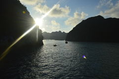Vietnam sunset. Sunset in the stunning Halong bay in Vietnam stock photos