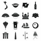 Vietnam symbolsuppsättning, enkel stil stock illustrationer