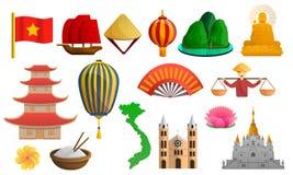 Vietnam symbolsuppsättning, tecknad filmstil stock illustrationer