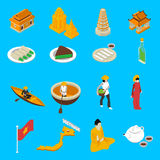 Vietnam Touristic Attractions  Isometric Icons Collection Royalty Free Stock Images