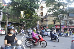 Vietnam traffic. Planless, overwhelming and random traffic in the buzzy streets of Hanoi, Vietnam royalty free stock photo