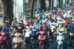 Vietnam Traffic, Vietnamese People, Travel Stock Photo