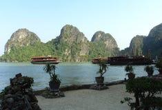 Vietnam travel beach ocean panorama Ha Long Bay Royalty Free Stock Images